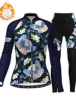 cheap -21Grams Women's Long Sleeve Cycling Jersey with Tights Winter Fleece Polyester Dark Navy Butterfly Christmas Bike Clothing Suit Thermal Warm Fleece Lining Breathable 3D Pad Warm Sports Graphic