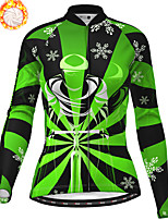 cheap -21Grams Women's Long Sleeve Cycling Jersey Winter Fleece Polyester Purple Red Green Christmas Santa Claus Bike Jersey Top Mountain Bike MTB Road Bike Cycling Fleece Lining Warm Quick Dry Sports