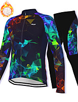 cheap -21Grams Men's Long Sleeve Cycling Jacket with Pants Winter Fleece Spandex Dark Navy Bike Fleece Lining Warm Sports Graphic Mountain Bike MTB Road Bike Cycling Clothing Apparel / Stretchy / Athleisure