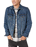 cheap -men's dark blue tencel trucker jacket, hollow, l
