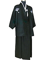 cheap -japanese kimono adult men, halloween cosplay costume outfit robe yukata (l, black)