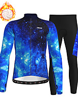 cheap -21Grams Men's Long Sleeve Cycling Jersey with Tights Winter Fleece Polyester Blue Bike Clothing Suit Fleece Lining Breathable 3D Pad Warm Quick Dry Sports Graphic Mountain Bike MTB Road Bike Cycling