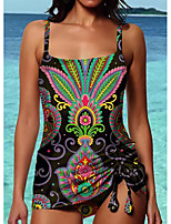 cheap -Women's Fashion Sexy Monokini Swimsuit Tribal Print Padded Normal Strap Swimwear Bathing Suits Rainbow / One Piece