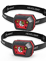 cheap -rechargeable headlamp,super bright headlight with 4 modes of lighting and hand sensor switch(2 packs) waterproof,headband adjustable headlight flashlight for camping,hiking,outdoor (red)