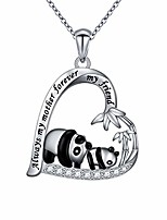 cheap -925 sterling silver always my mother forever my friend panda heart necklace for mom birthday gift