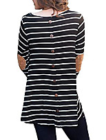 cheap -women striped blouse long sleeve cotton shirts button round neck casual tunic tops dark grey s