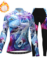 cheap -21Grams Women's Long Sleeve Cycling Jersey with Tights Winter Fleece Polyester Purple Bike Clothing Suit Thermal Warm Fleece Lining Breathable 3D Pad Warm Sports Printed Mountain Bike MTB Road Bike