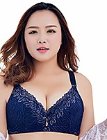 cheap -women's plus size adjustable sports extra-elastic breathable lace trim bra (blue 38c)