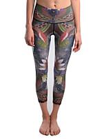 cheap -Women's Basic Yoga Comfort Daily Yoga Leggings Pants Tropical Animal Calf-Length Patchwork Print Gray