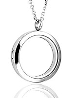 cheap -silver round locket pendant necklace 30mm glossy stainless steel clear glass living memory floating charms stone storage