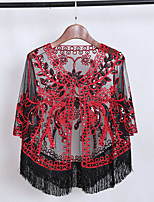cheap -Half Sleeve Coats / Jackets Poly&Cotton Blend Party / Evening / Office / Career Women's Wrap With Tassel / Embroidery / Hollow-out
