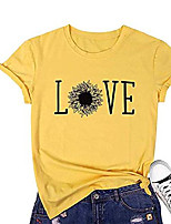 cheap -sunflower shirt for women love graphic tees cute letter printed casual short sleeve tops yellow