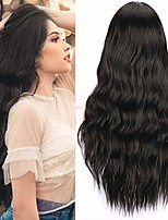cheap -colorfulpanda black wigs for women natural synthetic hair black wig loose wavy wigs fancy dress wig middle parting cosplay halloween daily wear