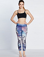 cheap -Women's Casual Yoga Comfort Daily Gym Leggings Pants Print Patterned Calf-Length Patchwork Print Purple