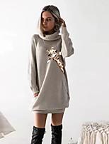 cheap -Women's T shirt Dress Graphic Prints Animal Long Sleeve Cowl Neck Tops Basic Top Black Wine Camel