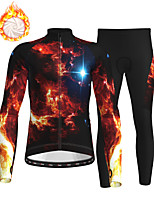 cheap -21Grams Men's Long Sleeve Cycling Jersey with Tights Winter Fleece Polyester Black Bike Clothing Suit Fleece Lining Breathable 3D Pad Warm Quick Dry Sports Graphic Mountain Bike MTB Road Bike Cycling