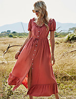 cheap -Women's A-Line Dress Maxi long Dress - Short Sleeve Solid Color Ruched Ruffle Patchwork Summer Sexy Puff Sleeve 2020 Orange S M L XL