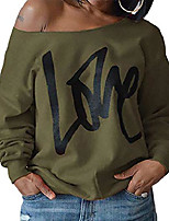 cheap -women's crew neck sweatshirts oversized off the shoulder sweatshirt womens love printed pullover jumper sweat shirts top ladies round neck jumpers pull over long sleeve tops for women army green 2xl