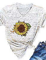 cheap -women cute funny sunflower graphic letter print t shirt short sleeve casual tees tops faith tee shirt size l (yellow)
