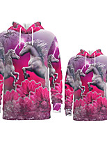 cheap -Family Look Active Horse Graphic Optical Illusion Animal Print Long Sleeve Regular Hoodie & Sweatshirt Fuchsia