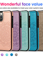 cheap -Case For Apple iPhone 12 / iPhone 11 / iPhone 12 Pro Max Shockproof Back Cover Solid Colored / Flower PU Leather