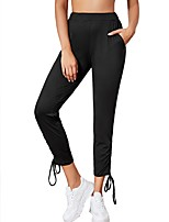 cheap -Women's Basic Casual Comfort Daily Active Jogger Pants Solid Color Full Length Drawstring Pocket Black Dark Gray Gray
