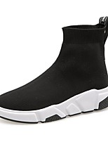 cheap -Women's Boots Wedge Heel Round Toe Booties Ankle Boots Casual Daily Walking Shoes Elastic Fabric Solid Colored Black / Mid-Calf Boots