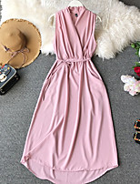 cheap -Women's A-Line Dress Maxi long Dress - Sleeveless Solid Color Lace up Patchwork Summer V Neck Casual Slim 2020 Black Red Blushing Pink Green Dusty Blue One-Size