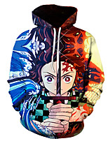 cheap -Inspired by Demon Slayer Kamado Tanjirou Cosplay Costume Hoodie Polyester / Cotton Blend 3D Printing Hoodie For Men's / Women's