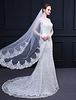 cheap -One-tier Lace Applique Edge / Lace Wedding Veil Elbow Veils with Solid 59.06 in (150cm) Tulle