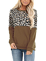 cheap -women's long sleeve leopard color block tunic tops casual loose blouses brown
