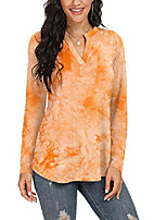 cheap -womens long sleeve shirt notch neck loose tops floral printd tunic blouse (multicolored-orange s)