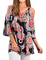 cheap -womens casual short sleeve cold shoulder floral print loose blouse summer long tops t-shirt tunic plus size-2019 black