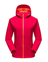 cheap -Women's Hoodie Jacket Hiking Softshell Jacket Hiking Windbreaker Outdoor Solid Color Waterproof Lightweight Windproof Breathable Jacket Top Ski / Snowboard Fishing Climbing Black Yellow Red Fuchsia