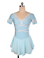cheap -Figure Skating Dress Women's Girls' Ice Skating Dress Sky Blue Flower Spandex High Elasticity Training Competition Skating Wear Crystal / Rhinestone Short Sleeve Ice Skating Figure Skating / Kids