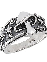 cheap -mushroom star leaf oxidized ring sterling silver celestial weed band size 7