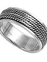 cheap -sterling silver wedding band oxidized finish braided rope design spinner ring (size 7 to 13)
