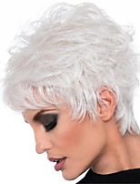 cheap -Synthetic Wig Curly Pixie Cut Wig Short White Synthetic Hair Women's Soft Color Gradient Ombre Hair White