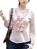 cheap -women's lace ruffle neck long sleeve stand collar ol shirt tops blouse medium pink