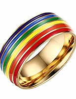 cheap -8mm stainless steel enamel rainbow lgbt pride gay lesbian ring wedding bands high polished