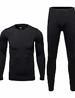 cheap -therma ultra-soft tagless thermal underwear - mens long johns set base layer fleece lined black