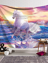 cheap -Wall Tapestry Art Deco Blanket Curtain Hanging Home Bedroom Living Room Dormitory Decoration Polyester Fiber Animal White Horse Treading Wave Sunset
