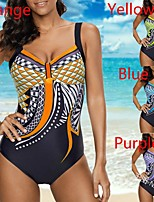cheap -Women's Sexy One Piece Swimsuit Tie Dye Print Normal Strap Swimwear Bathing Suits Blue Purple Yellow / Padded Bras