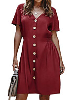 cheap -women's dresses-summer v neck casual work solid short sleeve elastic waist button down swing mini dress wine red m