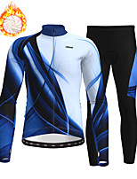 cheap -21Grams Men's Long Sleeve Cycling Jersey with Tights Winter Fleece Polyester Blue Bike Clothing Suit Thermal Warm Fleece Lining Breathable 3D Pad Warm Sports Printed Mountain Bike MTB Road Bike
