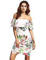 cheap -women's floral ruffle off shoulder party sexy bodycon dress (xx-large, white)
