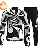 cheap -21Grams Men's Long Sleeve Cycling Jersey with Tights Winter Fleece Polyester Black / White Bike Clothing Suit Thermal Warm Fleece Lining Breathable 3D Pad Warm Sports Graphic Mountain Bike MTB Road