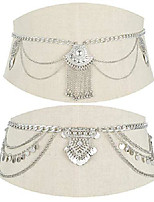 cheap -2 pcs waist belt chain vintage dangle dancing tassel body chain bikini beach body jewelry for women silver gold tone