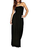 cheap -women strapless shirred plain maxi dress black