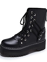 cheap -Women's Boots Platform Round Toe Casual Daily Walking Shoes PU White Black / Booties / Ankle Boots
